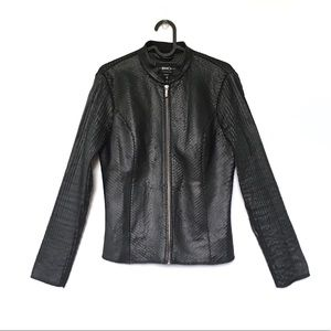 BNCI by Blanc Noir pieced fit vegan leather jacket
